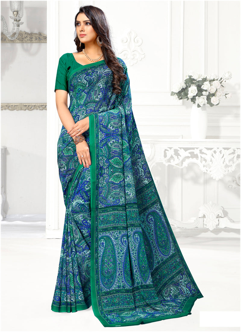 Blue & Green Color Crepe Casual Wear Sarees NYF-9416