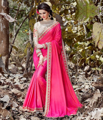 Rani Pink Color Crepe Designer Party Wear Sarees : Nayna Collection  YF-51910