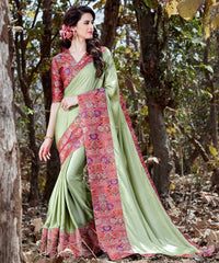 Pastel Green Color Crepe Designer Party Wear Sarees : Nayna Collection  YF-51912