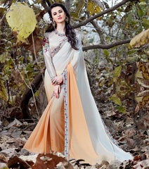 Off White & Light Orange Color Wrinkle Chiffon Designer Party Wear Sarees : Nayna Collection  YF-51913