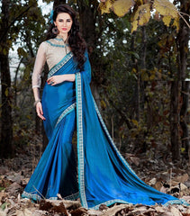 Blue Color Crepe Designer Party Wear Sarees : Nayna Collection  YF-51914