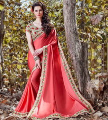 Pink Color Crepe Designer Party Wear Sarees : Nayna Collection  YF-51915