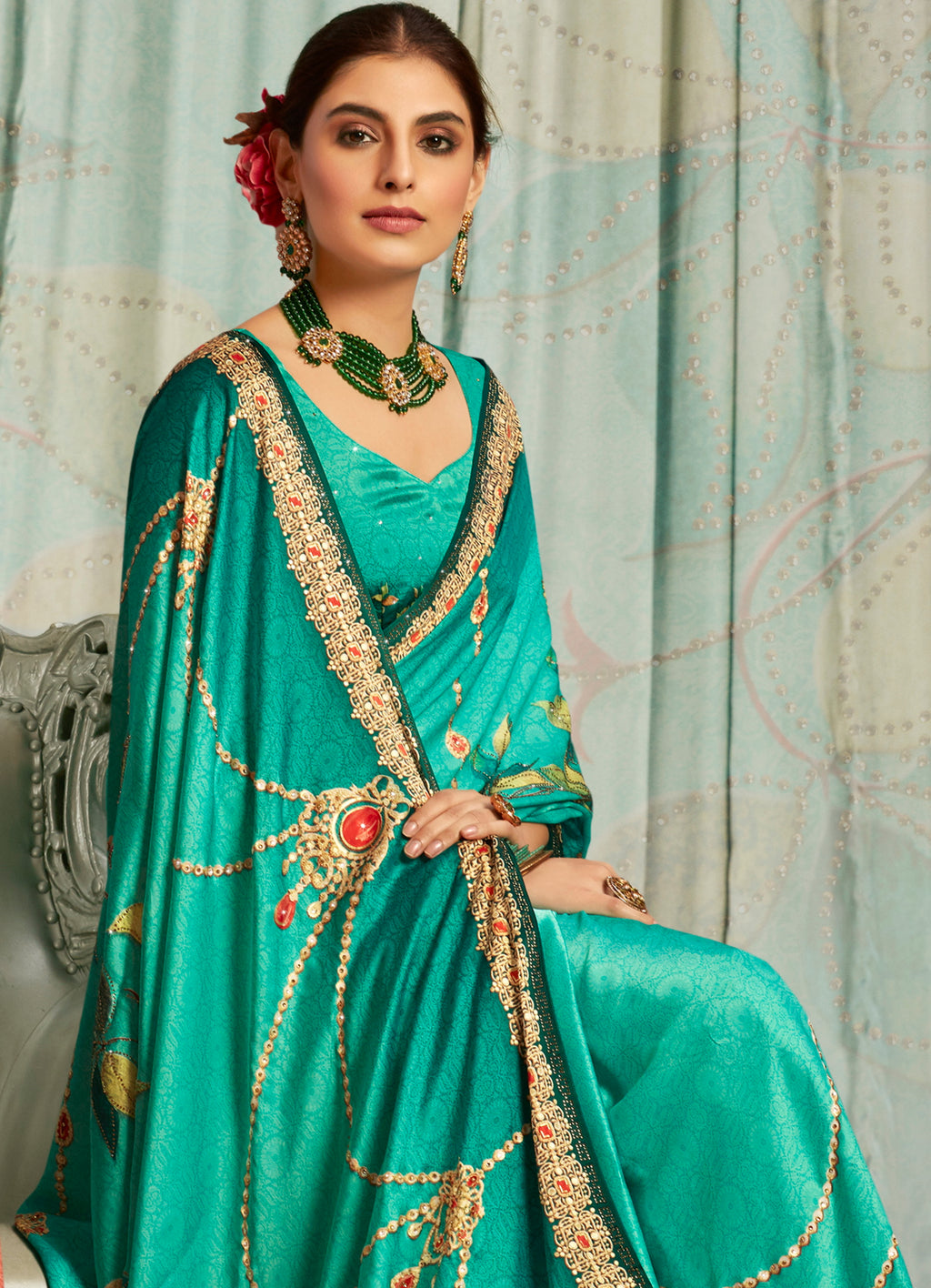 Aqua Green Color Crepe Silk Youthful Designer Sarees NYF-5279