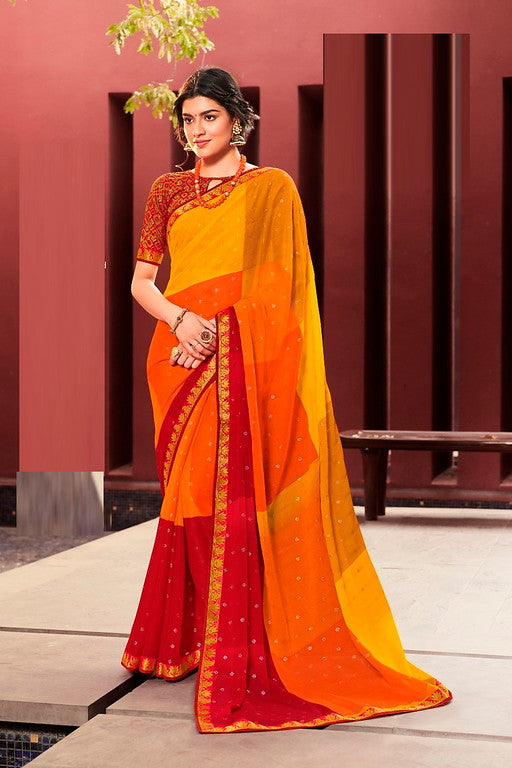 Yellow, Orange and Red Color Crepe Georgette Casual Wear Saree -Ladli Bahu  Collection  YF#11256