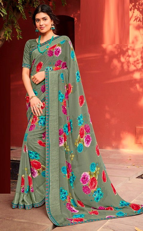 Sage Green Color Georgette Casual Wear Saree -Ladli Bahu  Collection  YF#11257