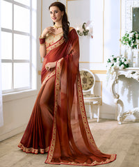 Brown Color Georgette Designer Festive & Party Wear Sarees : Anudnya Collection  YF-63110