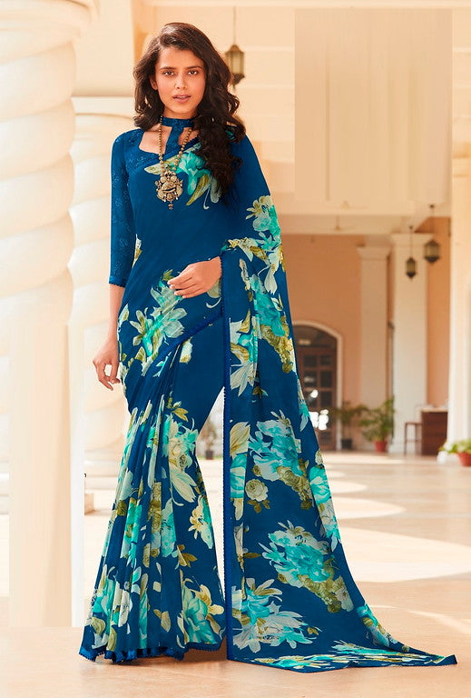 Blue Color Georgette Casual Wear Saree -Ladli Bahu  Collection  YF#11260