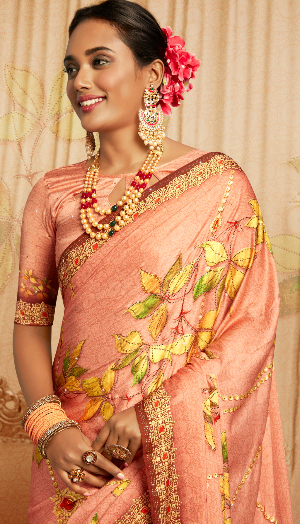 Peach Color Crepe Silk Youthful Designer Sarees NYF-5280