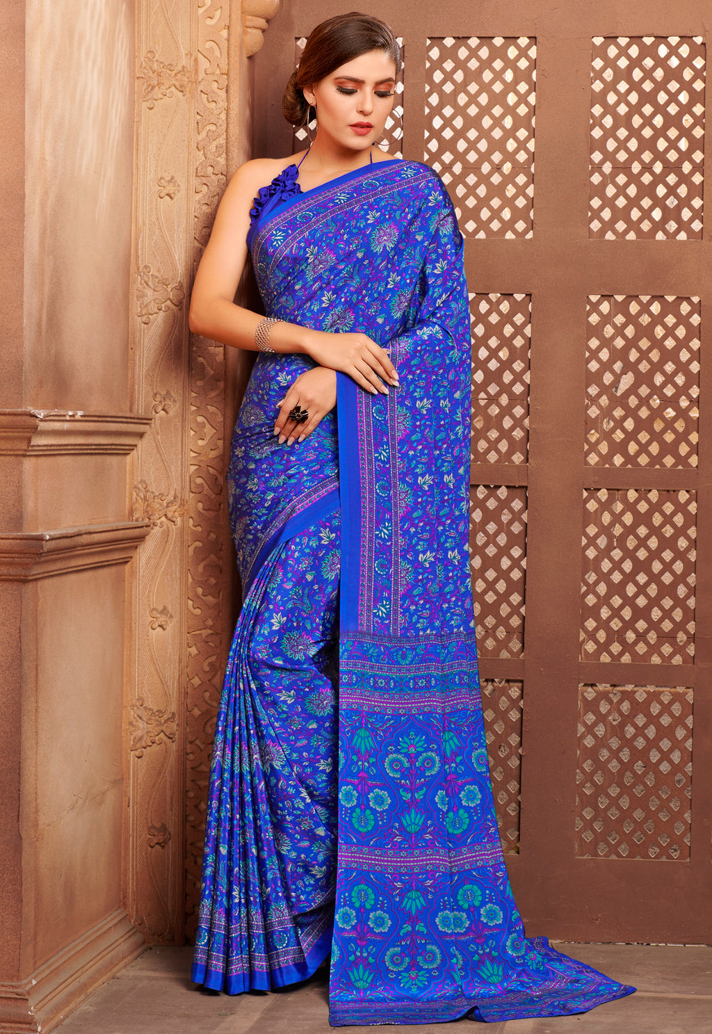 Blue Color Crepe Home Wear Sarees NYF-8735