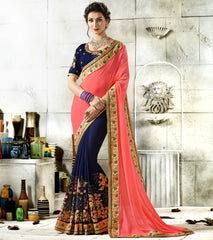 Pink & Blue Color Half Wrinkle Chiffon & Half Georgette Designer Festive Sarees : Vihangana Collection YF-63118