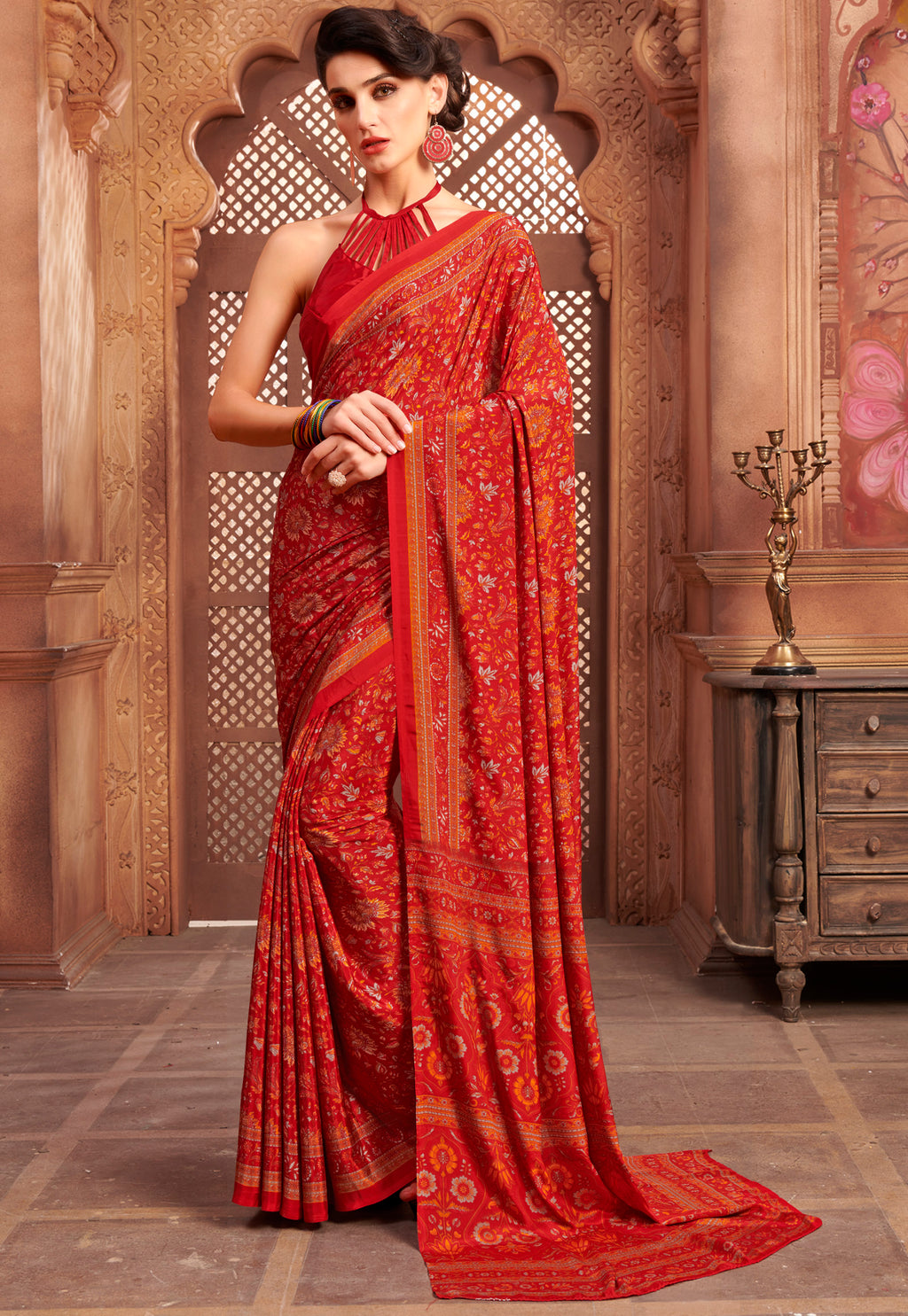 Orange Color Crepe Home Wear Sarees NYF-8736