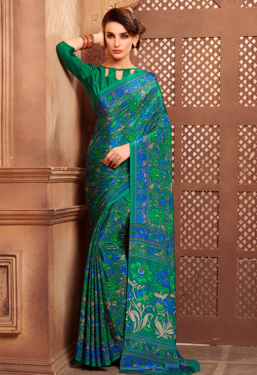 Green & Blue Color Crepe Home Wear Sarees NYF-8737