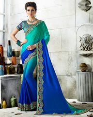 Green & Blue Color Wrinkle Chiffon Designer Festive Sarees : Vihangana Collection YF-63119