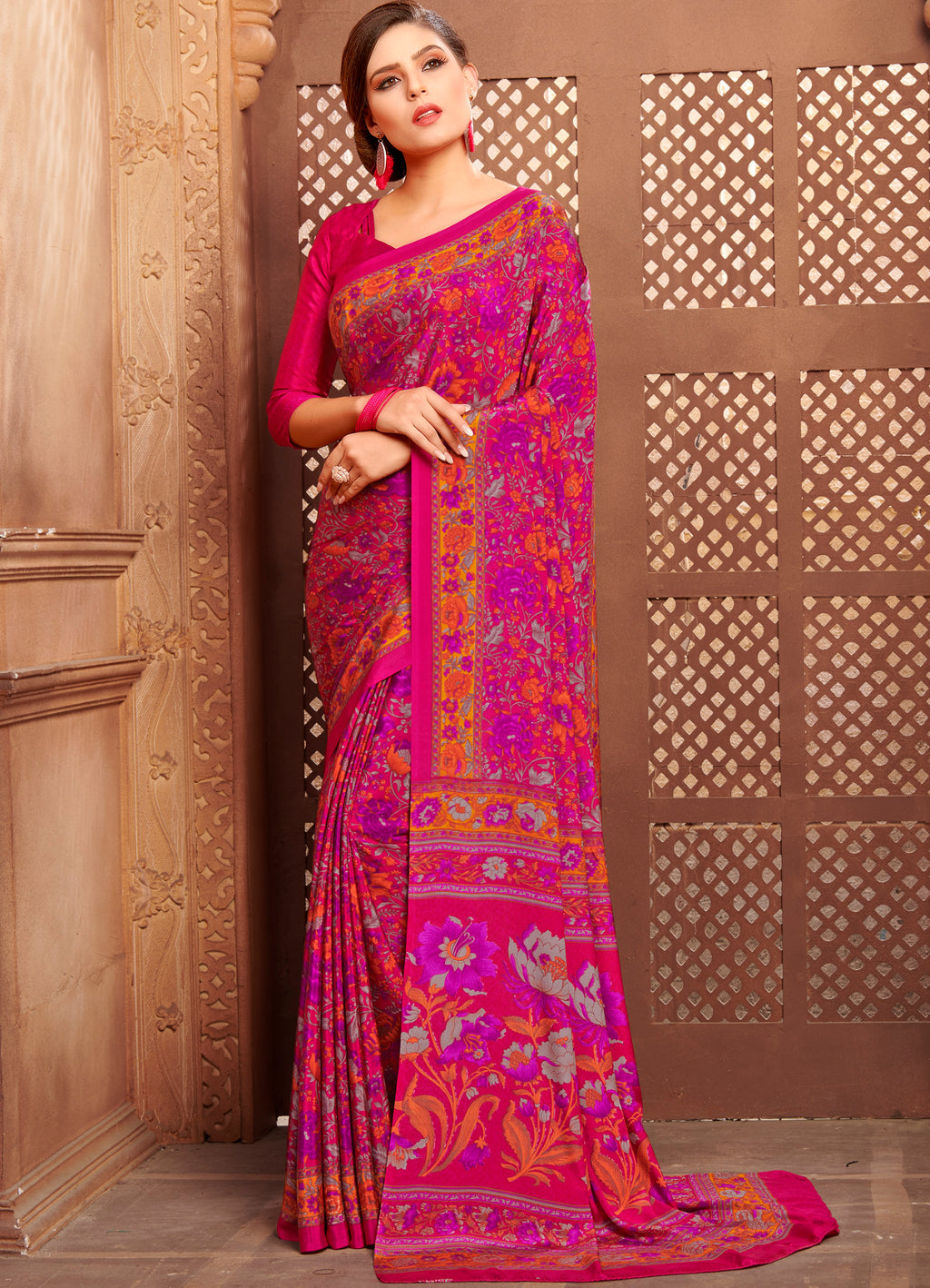 Rani Pink Color Crepe Home Wear Sarees NYF-8738