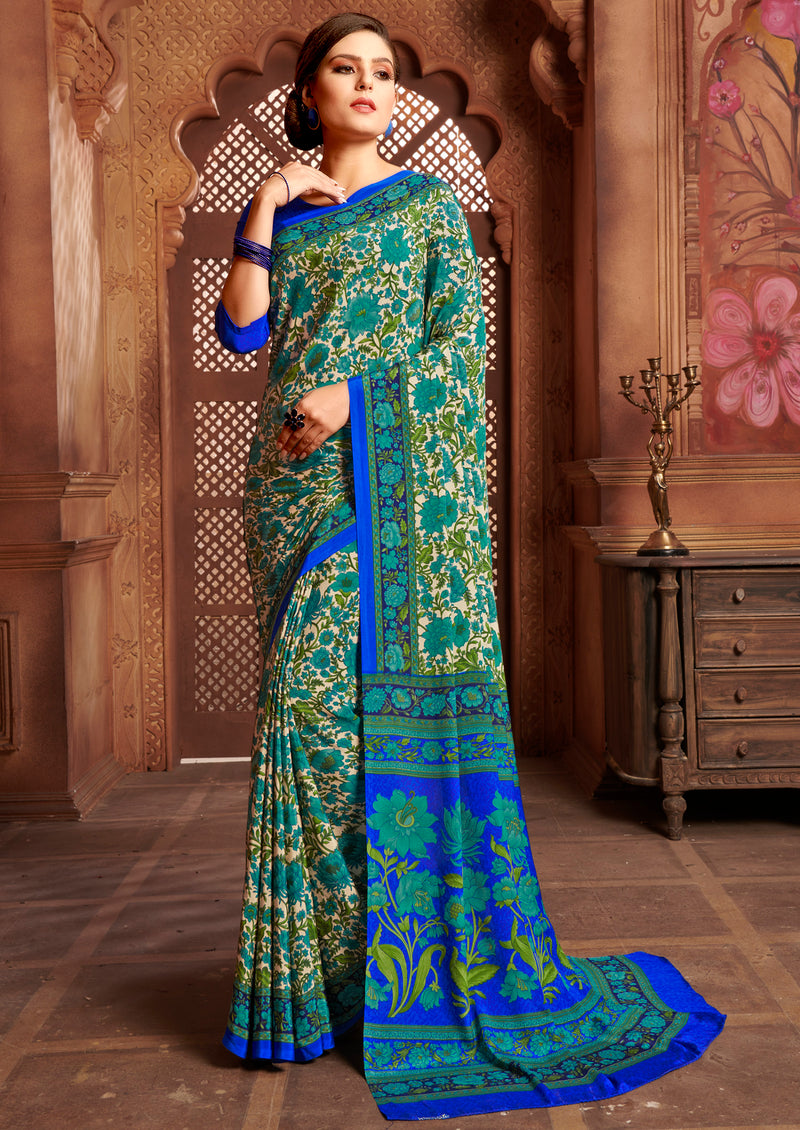 Green & Blue Color Crepe Home Wear Sarees NYF-8739