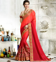Orange & Red Color Wrinkle Chiffon Designer Festive Sarees : Vihangana Collection YF-63120