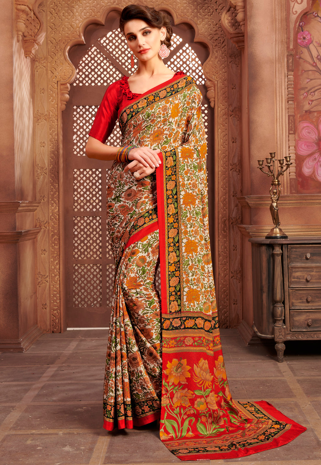 Orange Color Crepe Home Wear Sarees NYF-8740