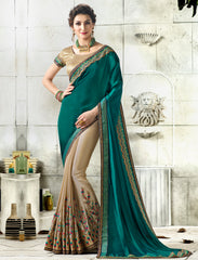 Light Coffee & Rama Green Color Wrinkle Chiffon Designer Festive Sarees : Vihangana Collection YF-63122