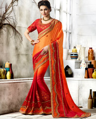 Red & Orange Color Wrinkle Chiffon Designer Festive Sarees : Vihangana Collection YF-63124