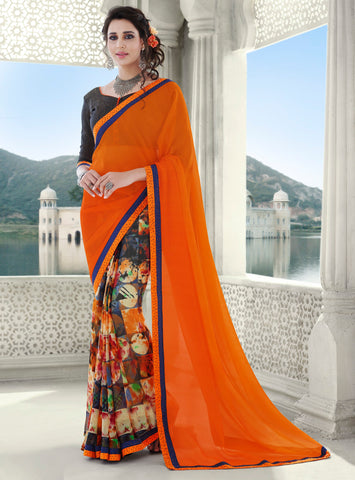 Orange Color Half Georgette & Half Chiffon Kitty Party Sarees : Jayanki Collection YF-64626