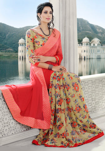 Light Coffee & Pink Color Georgette Kitty Party Sarees : Jayanki Collection YF-64630