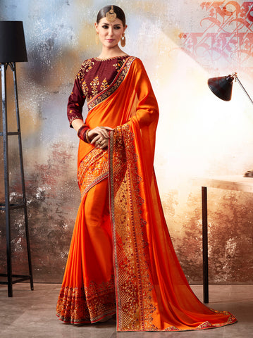 Orange Color Crepe Silk Designer Festive Sarees : Saral Collection YF-64071