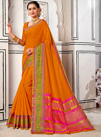 Orange Color Blended Cotton Festive & Party Wear Sarees : Pritpriya Collection YF-63682