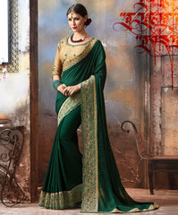 Bottle Green Color Crepe Silk Designer Festive Sarees : Saral Collection YF-64076