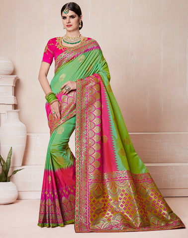 Green & Pink Color Silk Designer Wedding Function Sarees : Sangpreet Collection YF-64730