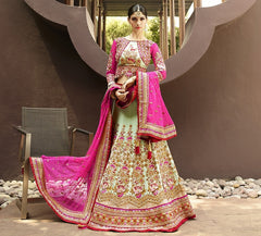 Rani Pink & Pastel Green Color Half Net & Half Georgette Designer Lehenga For Wedding Functions : Nandita Collection  YF-38427