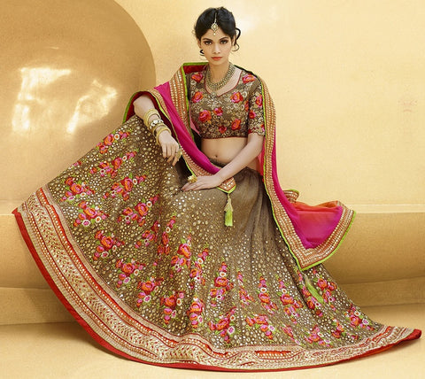Brown, Pink & Orange Color Half Georgette & Half Jute Raw Silk Designer Lehenga For Wedding Functions : Nandita Collection  YF-38428