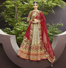 Red & Light Golden Color Half Net & Half Jute Raw Silk Designer Lehenga For Wedding Functions : Nandita Collection  YF-38430