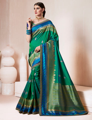Green Color Silk Designer Wedding Function Sarees : Sangpreet Collection YF-64737