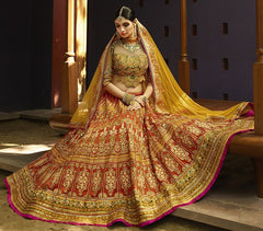 Orange & Yellow Color Half Net & Half Raw Silk Designer Lehenga For Wedding Functions : Nandita Collection  YF-38431