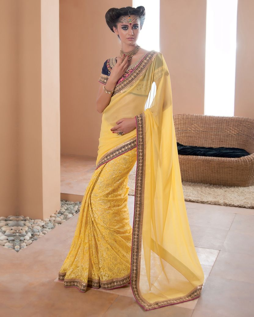 Yellow Color Georgette Party Wear Sarees : Pinati Collection  NYF-3345 - YellowFashion.in