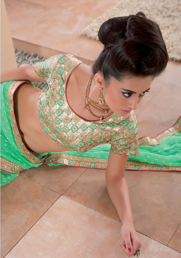 Sea Green Color Chiffon Party Wear Sarees : Pinati Collection  NYF-3346 - YellowFashion.in