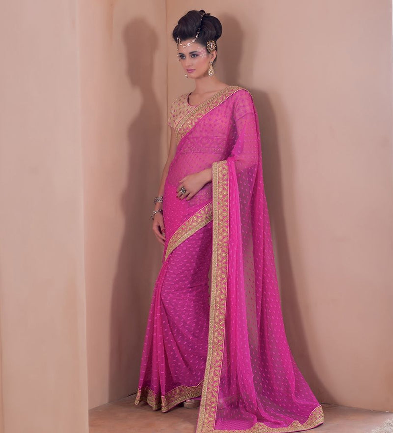 Pink Color Georgette Party Wear Sarees : Pinati Collection  NYF-3347 - YellowFashion.in