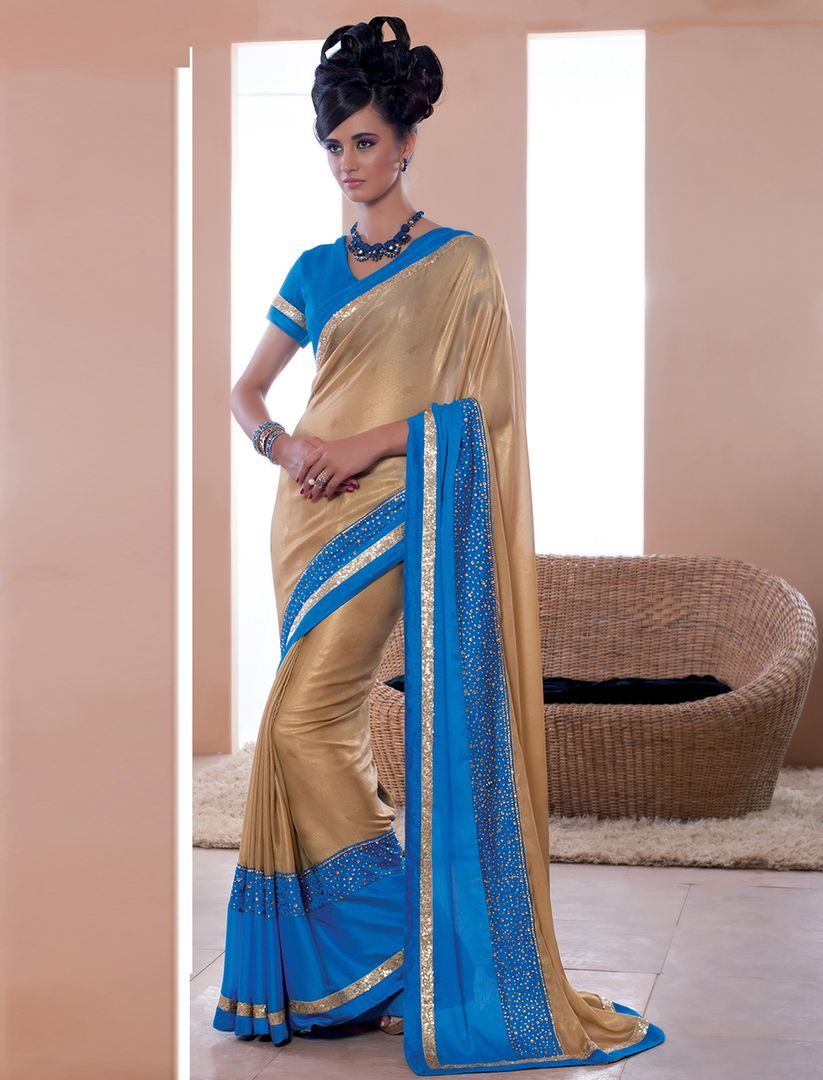 Golden & Firozi Color Lycra Party Wear Sarees : Pinati Collection  NYF-3348 - YellowFashion.in