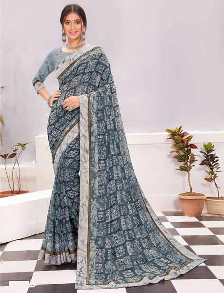 Grey and Blue Color Georgette Casual Wear Saree -  Kiah Collection  YF#11388