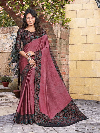 Onion Pink Color Metallic Two Tone Chiffon Kitty Party Saree-  Ishin Collection  YF#10706