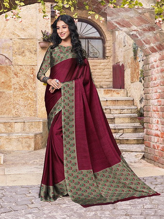 Wine Color Metallic Two Tone Chiffon Kitty Party Saree-  Ishin Collection  YF#10701