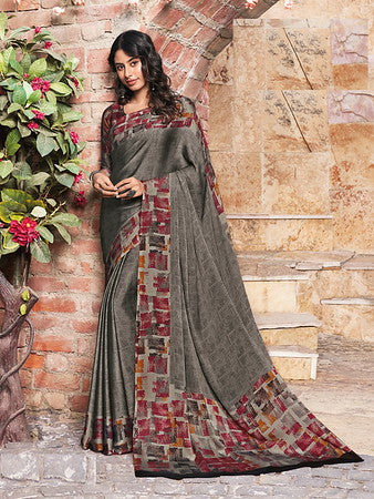 Grey Color Metallic Two Tone Chiffon Kitty Party Saree-  Ishin Collection  YF#10702