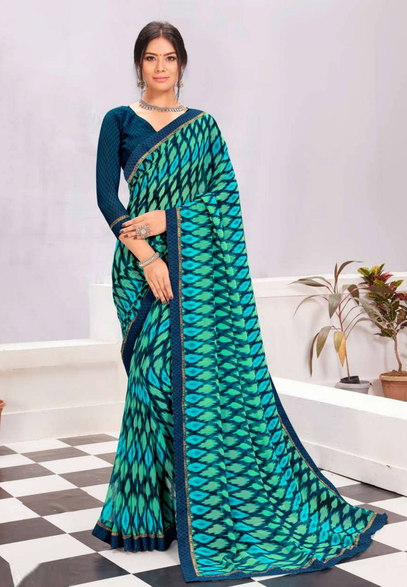 Shades of Blue Color Georgette Casual Wear Saree -  Kiah Collection  YF#11390