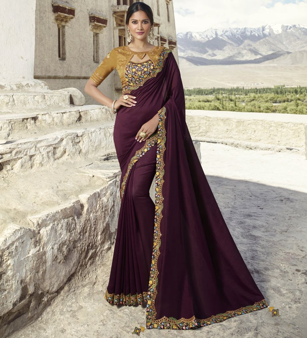 Wine Color Crepe Silk Designer Festive Sarees : Raviya Collection  NYF-2921 - YellowFashion.in