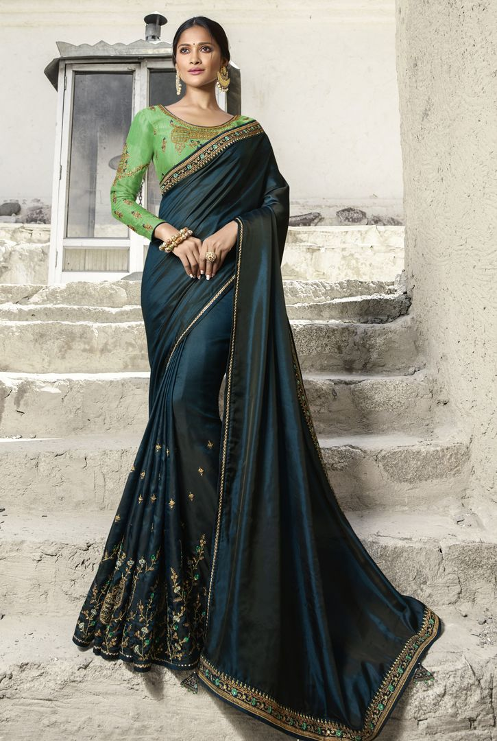 Rama Blue Color Crepe Silk Designer Festive Sarees : Raviya Collection  NYF-2922 - YellowFashion.in