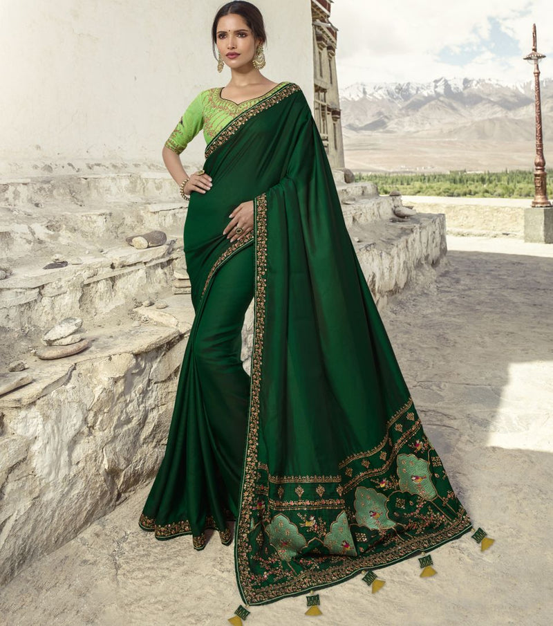 Green Color Crepe Silk Designer Festive Sarees : Raviya Collection  NYF-2923 - YellowFashion.in