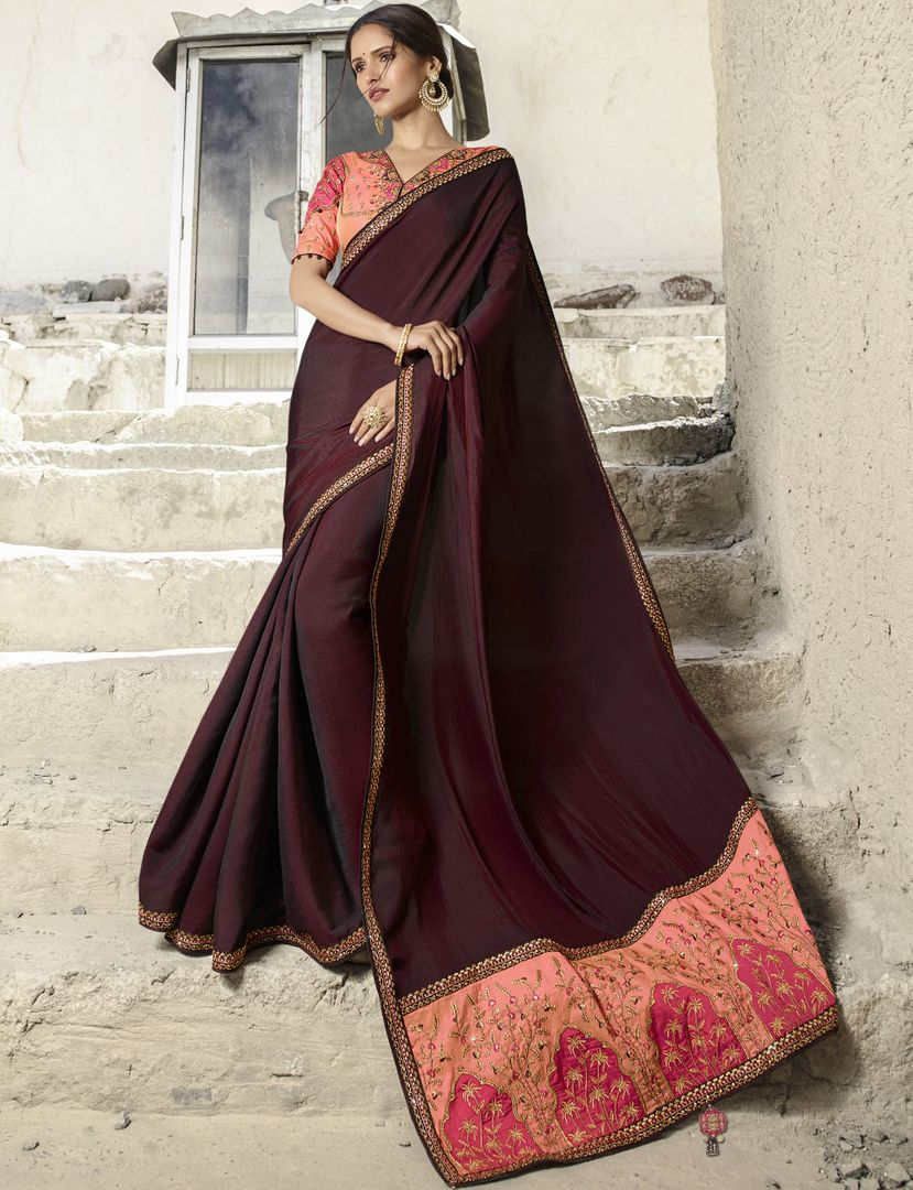Maroon Color Crepe Silk Designer Festive Sarees : Raviya Collection  NYF-2924 - YellowFashion.in