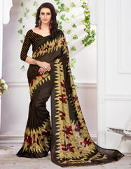 Brown Color Moss Crepe Office Wear Sarees : Nuhita Collection YF-62876