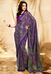 Purple Color Crepe Uniform Sarees : Varnika Collection  YF-50454