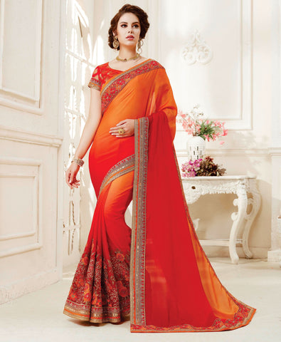 Orange & Red Color Raw Silk Designer Festive Sarees : Adyara Collection YF-66203